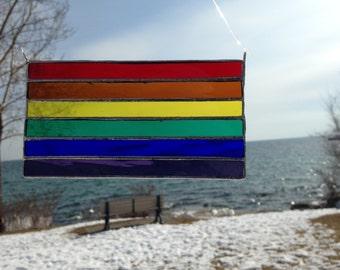 Rainbow flag Stained Glass sun-catcher