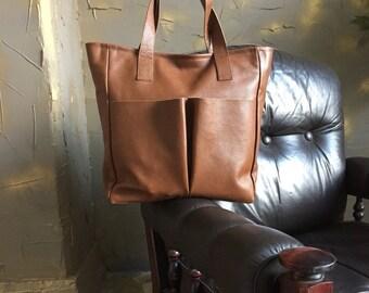 Brown tote bag, shoulder bag, leather bag