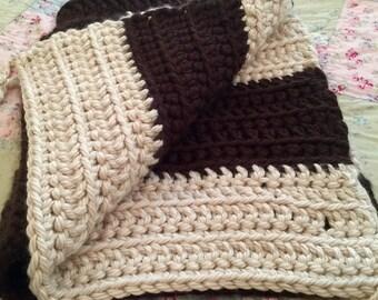 Crocheted Blanket Throw 37x 32 Brown and Ecru/Heavy & Warm