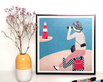 Illustration print framed - Lighthouse