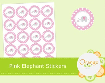 Pink Elephant Baby Shower Stickers, Cupcake Topper, Party Favor, Treat Bag, Pink Baby Shower Stickers