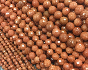 4mm Brown Goldstone Faceted, 8mm Brown Gold Stone Faceted,10mm Brown Gold Stone Faceted, Brown Gold Stone Faceted, Brown Sandstone Faceted