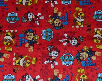 PAW PATROL FABRIC / 1/2 Yard For Quilting / Marshall - Rocky - Chase / Dogs / Firefigher - Constructio -Police