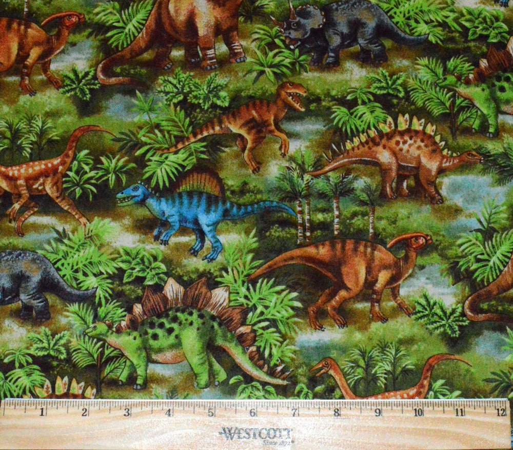 Dinosaur fabric 1 2 yard for quilting raptor stegosaurus for Dinosaur fabric