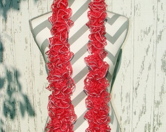 Salmon colored ruffle scarf, Knitted ruffle scarf, Frilly ruffle scarf