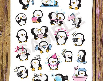 21 Kawaii Penguins Planner Stickers Cute Penguin Stickers Winter Penguin Stickers Decorative Stickers Planning Stickers Kawaii Stickers S1