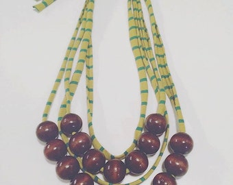 Wood Beads on tuggable jersey necklace