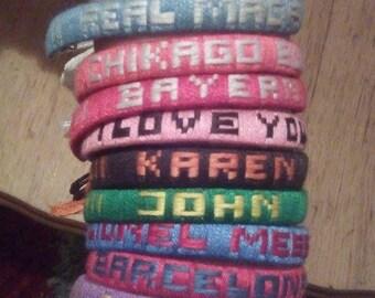 Handmade bracelet;Custom Name Friendship Bracelet.Custom bracelets with names