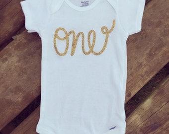 """Glitter """"One"""" Onesie"""