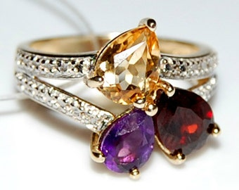 Sterling Silver 925 Ring Citrine Ring Garnet Ring Amethyst Ring Wedding Silver Ring Gift Ring Engagement Silver Ring Anniversary Silver Ring