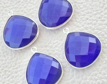925 Sterling Silver,COBALT BLUE CHALCEDONY Faceted Heart Shape Pendent,1 Piece of 23mm approx