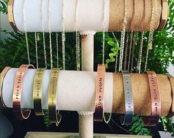 Metal stamp bracelets