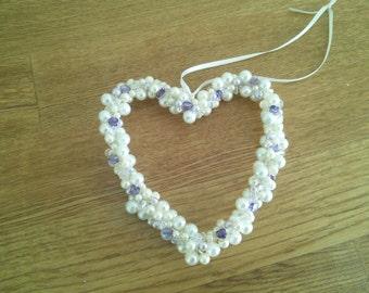 Lilac, ivory & glass heart