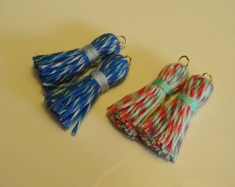 A pair of cute cotton tassels. Handmade. Suitalbe for jewelry or garland making. Kawaii