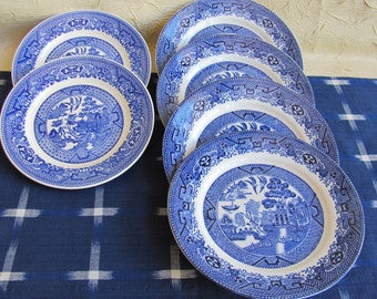 Vintage Blue Willow Dessert Plates