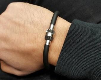 Stainless steel black rubber grenade style bracelet for men