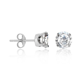 10kt solid white gold round cubic zirconia c.z studs earrings - 10 karat white gold studs earrings - several stone size available