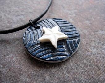 Porcelain pendant, ceramic pendant, dark blue pendant, white star pendant, ceramic round pendant, ceramic jewellery, porcelain jewellery