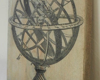 Wall decoration, old globe on patinated wood plank