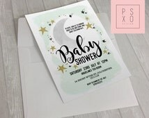Beautiful Moon And Stars Baby Shower Invite | Cute Pastel Themed Invite | Unisex Baby Shower Invite | Printable Invite