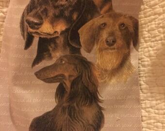 Crochet top Dachshund kitchen towel