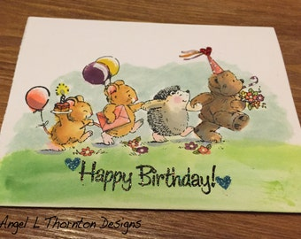 Happy Birthday Animal Parade ~ Handmade/DIY Card