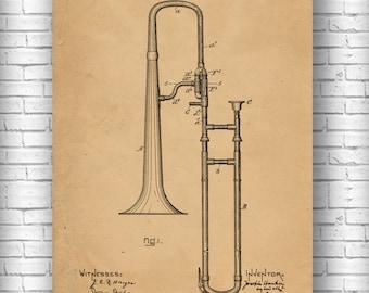 Slide Trombone Patent, Trombone Poster, Slide Trombone Print, Slide Trombone Art, Slide Trombone Blueprint, Slide Trombone Decor, Trombone