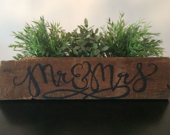 Reclaimed Wood Sign - Mr. and Mrs. In Black