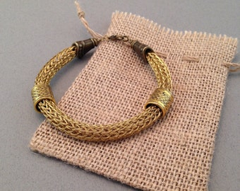 Handmade Viking Knit bracelet (tripple wire, copper wire plated with gold color)
