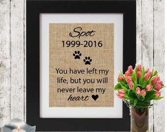 Personalized Dog Memorial Burlap Print - Loss Of A Pet - Pet Death - YOU Have left my life- Wall Memorial - Cat Memorial Personalized w/name
