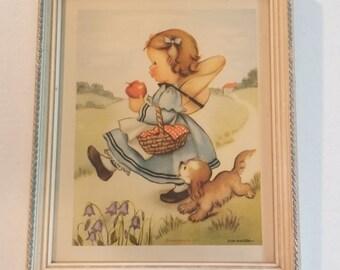 "Vintage 1950s Eva Harta ""Playmates"" & ""Fishing Pals"" Framed Print"