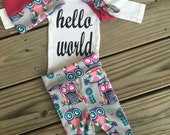 Newborn Baby coming home outfit, Pink blue an grey owl theme hello world baby girl shower gift coming home from the hospital outfit baby