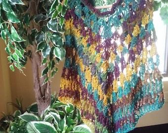 Brand new fall poncho shawlet, sleek, flowy fall colors, elegant