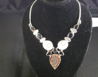 A Gorgeous Sterling Silver and Ammonite Necklace.