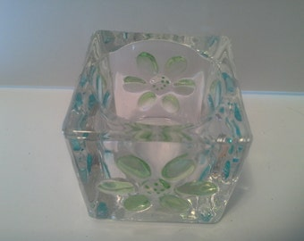 Glass tealite or candle holder