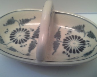 Trinket tray in blue and white ceramic