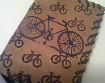 Leather bound journal with bikes embossed