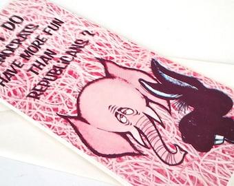 Vintage Political Greeting Card Republican Democrat Elephant Donley Gas Line Cards 70's