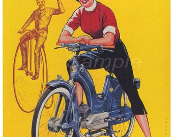 Vintage 1956 Vicky Moped Advertising Poster Print