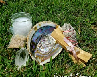 Altar and Cleansing Starter Kit! Extra Large Abalone Shell, Palo Santo Sticks, Quartz Crystal, Candles, Sage Resin,
