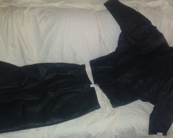 Black leather skirt suit