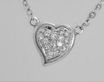 50% OFF Diamond Heart Necklace 14k White Gold .35cttw