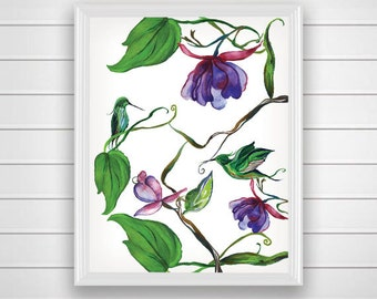 SALE 50% Bird Wall Art, Printable Wall Art, Floral Wall Art, Flower, Instant Download, Printable Women Gift, Home Decor, Green Bird decor