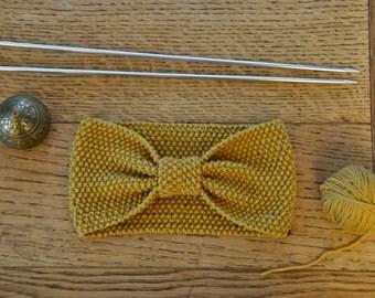 Bandeau laine mérinos 100% naturelle Jaune moutarde 10cm