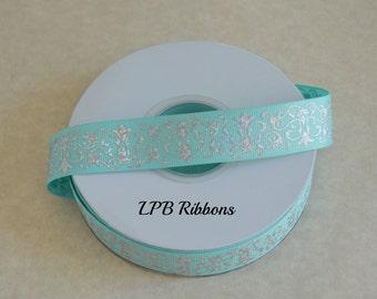 "7/8"" Aqua holographic damask ribbon, silver foil ribbon, damask ribbon, US designer ribbon, grosgrain ribbon"