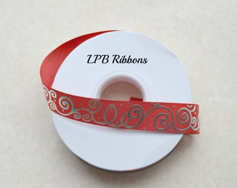 "7/8"" Red grosgrain ribbon with silver foil swirls, red grosgrain ribbon, grosgrain ribbon, US Designer ribbon, Red Ribbon"
