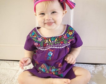 0-12 months Handmade Embroidered Mexican baby dress