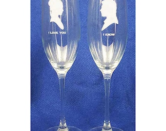 Star Wars Wedding Glasses 8 oz Engraved Personalized