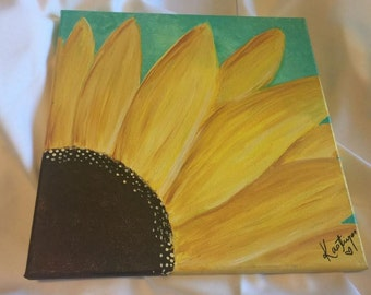 Sunflower Acrylic Painting -- Original