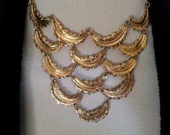Vintage Vendome Gold Bib Necklace